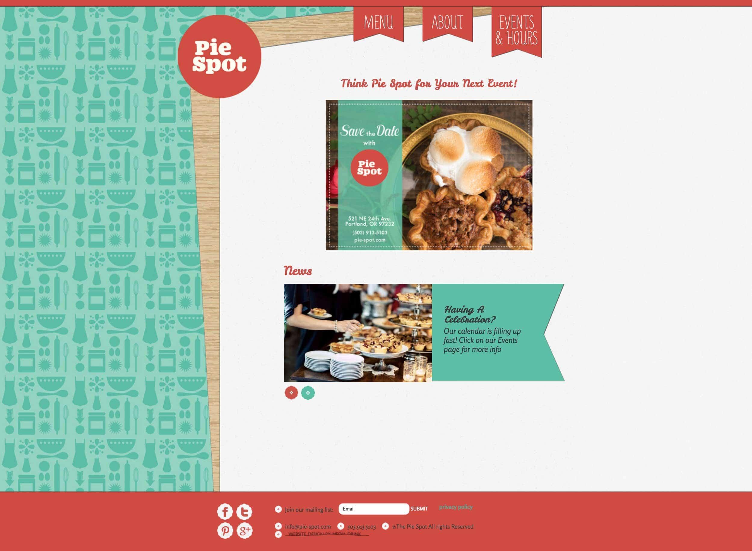 The original Pie Spot website. It was fun, but hard to update.