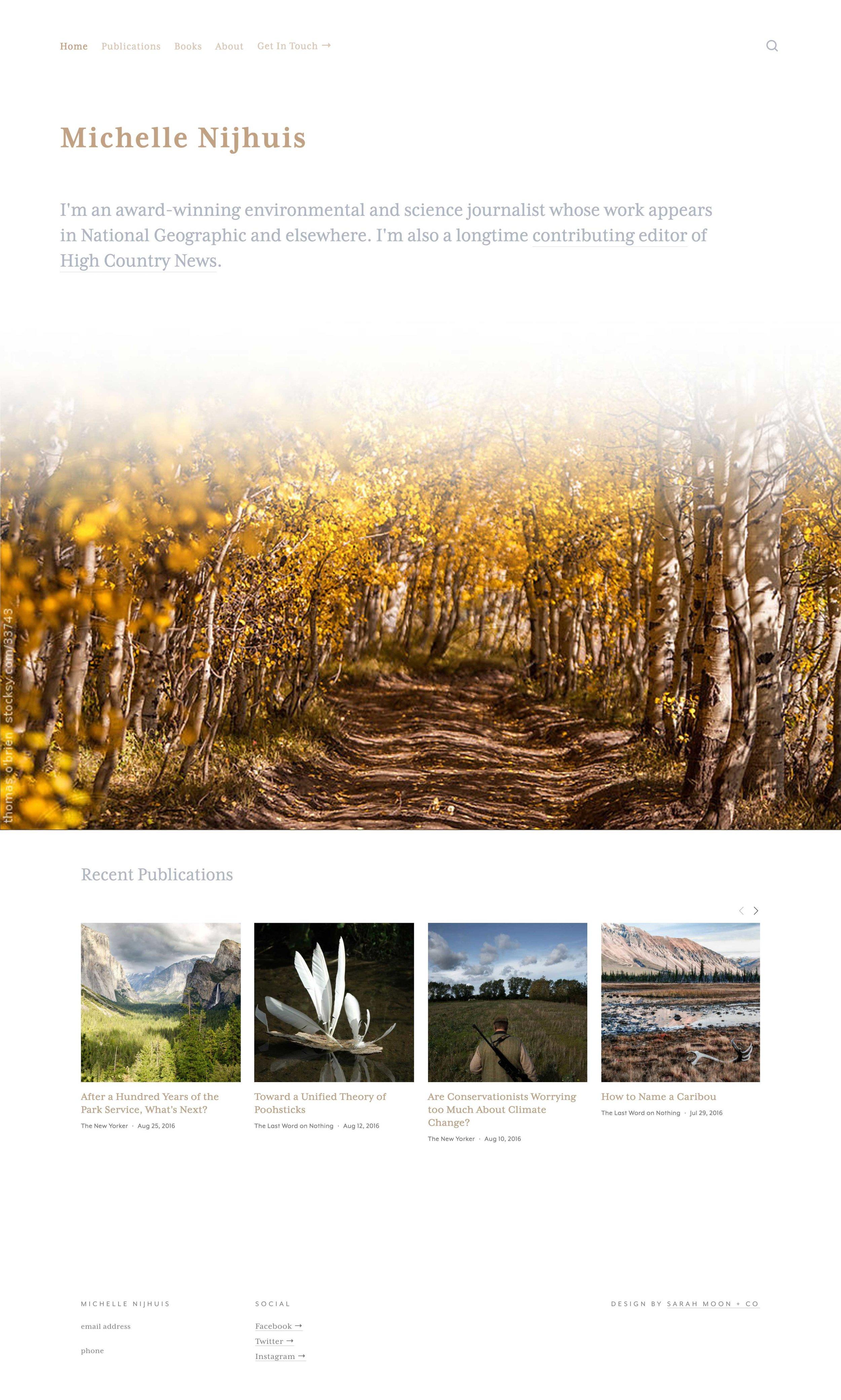 Writer's website design. By Sarah Moon, sarahmoon.net #squarespace #portfolio #websites #design
