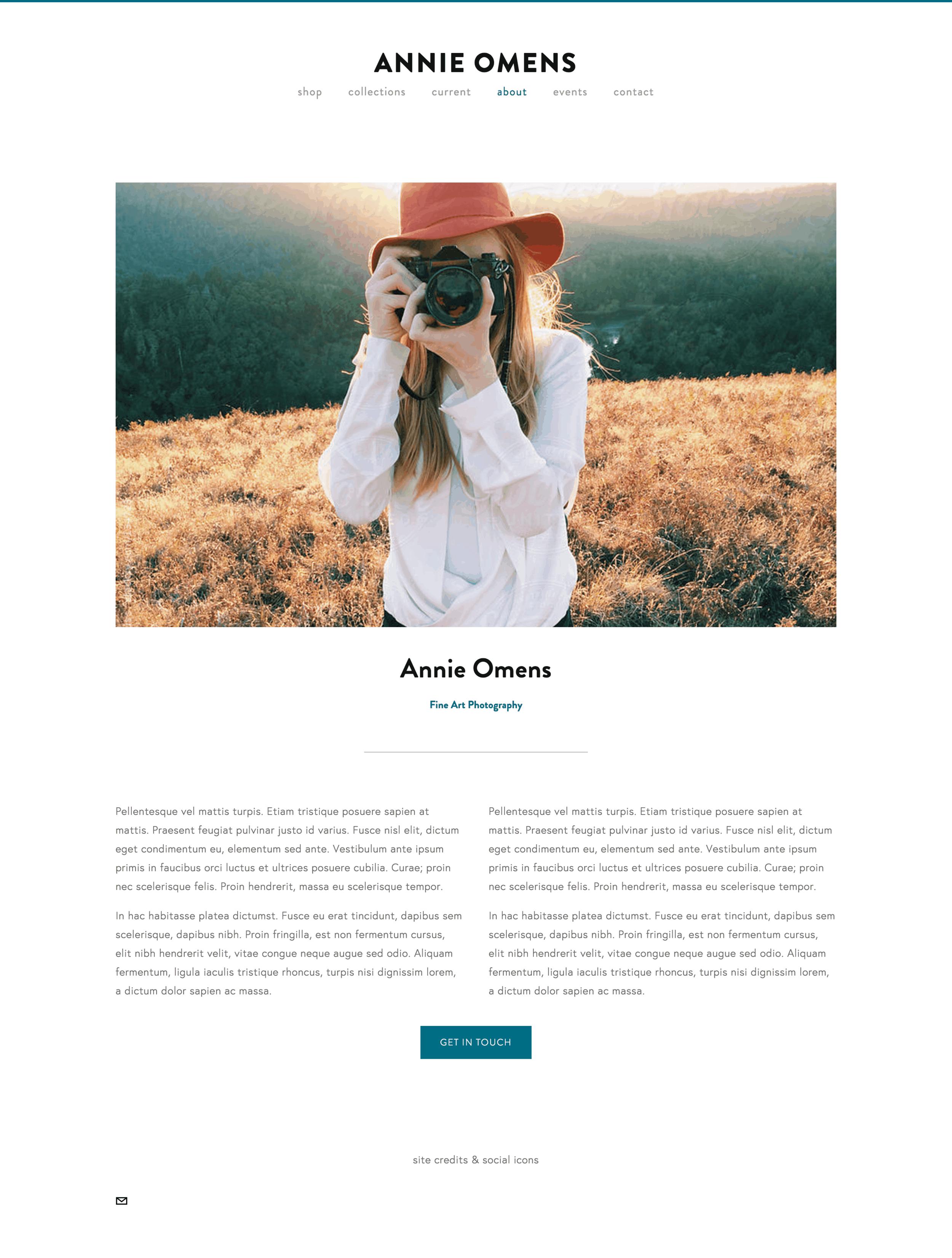 About page design idea by Sarah Moon. #squarespace #webdesign #artistwebsite #photographers