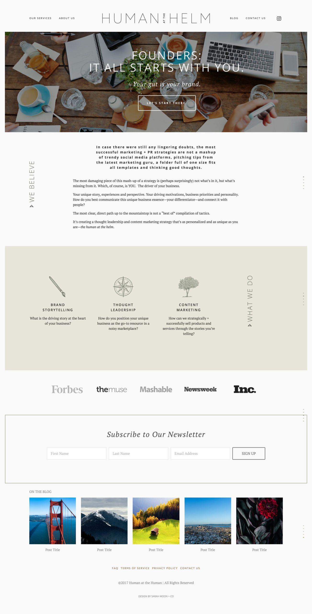 human at the helm website design
