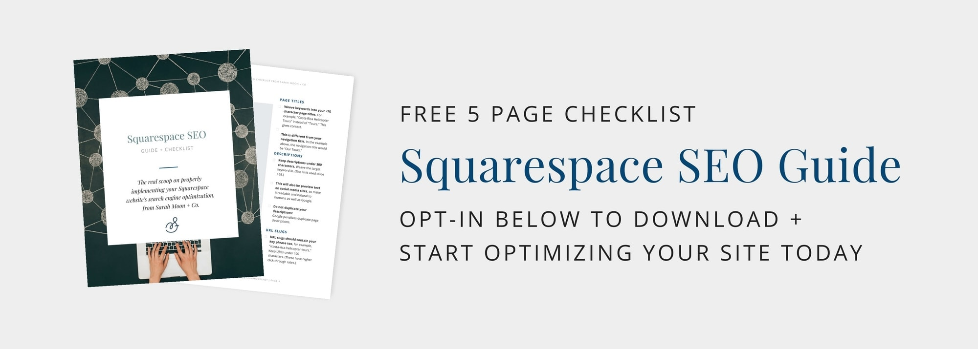 Download your free Squarespace SEO guidebook from an official Squarespace Specialist.