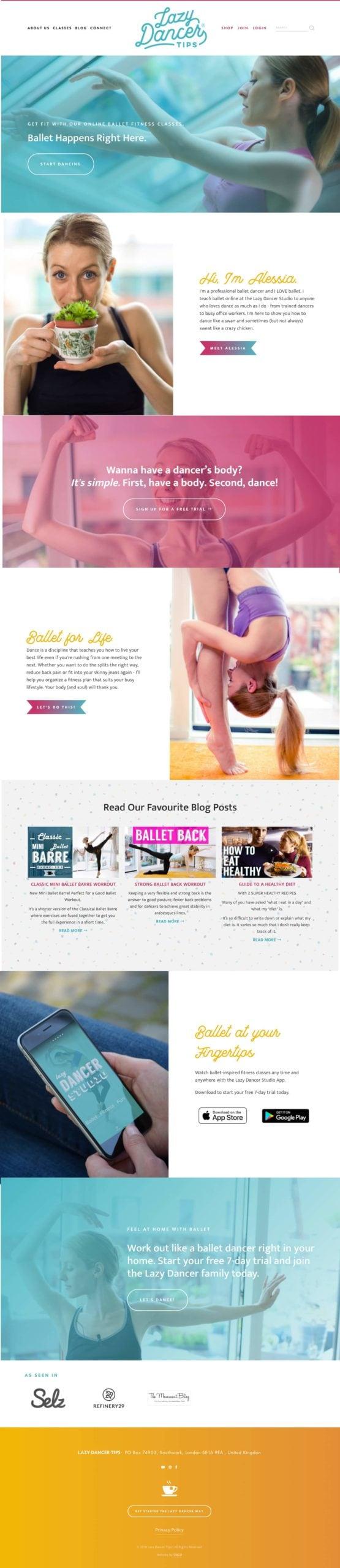 Lazy Dancer Tips Squarespace Website