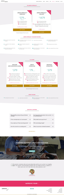 Arrow Birth Pricing Page