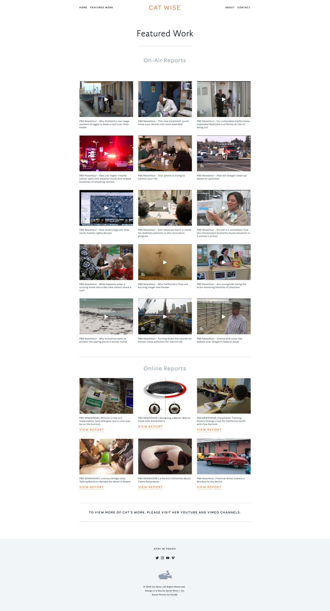 Cat Wise Television Producer One Day Website Featured Work